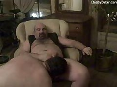 Hairy  Top Kicks Back And Smokes While Getting Sucked