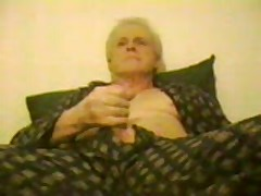 Dad In Silk Pajamas Jacks Off And Cums For Camera