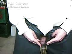 Uniform Black Satin Pants Pissing