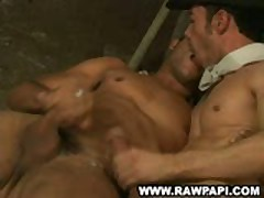 Latino Gay Kiss While Wanking