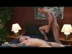 Gay Rubs His Cock On Bound Guy Until Cums On His Stomach