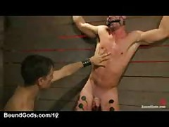 Bound Gay Gets Electricity And Anally Fucked