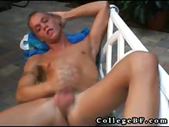 Landon Pulling His Dick Publicly In Chair Three By CollegeBF