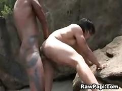 Horny Latinos Outdoor Bareback Fuck