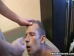 Dude Gets Cum Facial From Gay Men Asshole