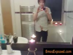 Goth Red Haired Jerking His Cock In The Mirror By Emosexposed