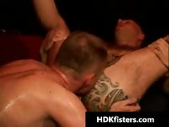 Homosexual Guy Getting His Tattooed Butthole Fisted Three By HDKfisters