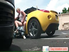 Blond Buddy Gets Asshole Hammered In Car By Gayviolator