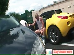 Blond Buddy Gets Asshole Hammered In Car By Gayviolator