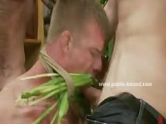 Naked Gay Model Tied On Shop Vitrina