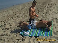 Hairy Beach Boy Gets....