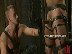 Gay Hunk Model In Leather Enjoys Bondage