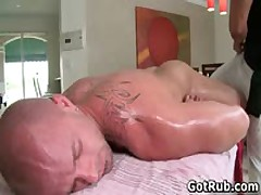 Muscular Buddy Getting His Fine Tatooed Pooper Pounded 2 By GotRub
