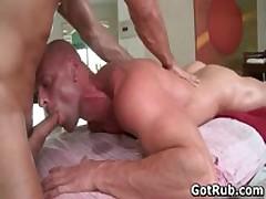 Beefed Bro Getting His Fine Tatooed Asshole Banged Three By GotRub