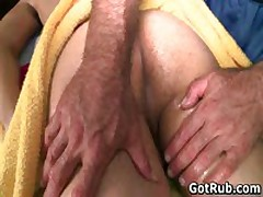 Lucky Dude Gets His Stiff Jizzster Gay Massaged 3 By GotRub