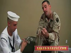 Sailor Gives Soldier His First Gay BJ