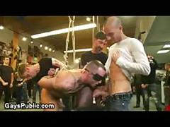 Tied Up Blindfolded Gay Gangbanged In Leather Store