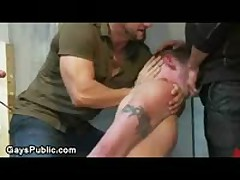Gay Made To Suck And Jerks Off Dicks In Public Rest Room