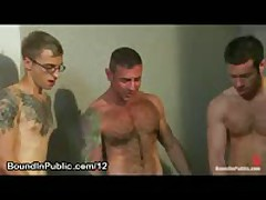 Tied Up Gay Gets Huge Cumshots In Shower Room