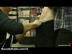 Bound Red Gay Made To Give Blowjob In Porn Store