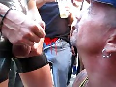 Public Blowjob, Jerking, And Cum Eating