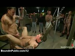 Gay In A Sling Fucked By Group Of Gays And Sprayed With Jizz