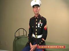 Tattooed Marine Jerks Off In His Blues