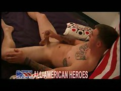 Tattooed Marine Jacking His Meat