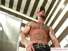 Muscled And Pierced Hunk Playing With His Cock By GotMasked