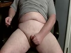 Gay Chubby Man Jacking Off A Big Load Of Cum