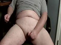 Gay Chubby Man Jacking Off A Big Load Of Cum