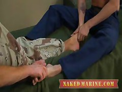 Firefighter And Army Guy Service Each Other