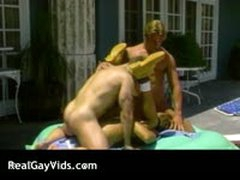 Hot Gay Threesome By The Swimming Pool 3 By RealGayVids