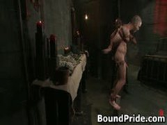 Dude Tight Up Like A Meatroll And Gets His Cock Sucked 2 By BoundPride