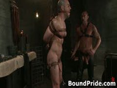 Dude Tight Up Like A Meatroll And Gets His Cock Sucked 4 By BoundPride