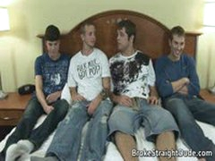 Four Super Hot Straight Guys Cock Wanking Foursome 2 By GotBroke