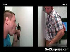 Straight Guy Has Cock Sucked By Dude Trough Hole 1 By GotSurprise