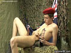 Twink Soldier Lubing And Jerking His Amazing Jizzster 3 By HammerBF