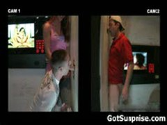 Straight Guy Has Cock Sucked By Dude Trough Hole 7 By GotSurprise