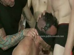 Strong Gay Sex Slave Tied Really Tight And  In Rough Bound Gay Group Sex
