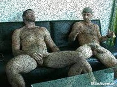 Hairy Muscle Guy Sucks Friend'S Huge Dick