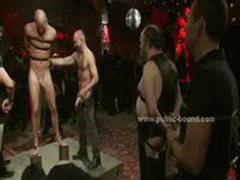 Gay Hunk Bound In Leather Leish Is Used As Sex Slave In Hard Bondage Group Sex