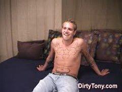Hairy Tattooed Straight Stud Jerks Off