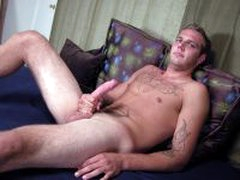 Hairy Tattooed Straight Stud Jerks Off