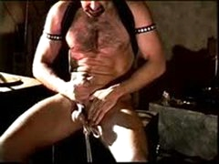 Hot Hairy Muscular Dude Bashes His Own Balls And Jacks His Big Cock.