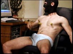 CBT Young Athletic Dude In Underwear Bashes His Own Balls.