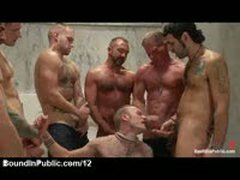 Bound Gay Receives Many Loads Of Cum In Public Rest Room