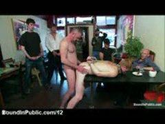 Bound Gay Fucked And Cummed In Public Cafe
