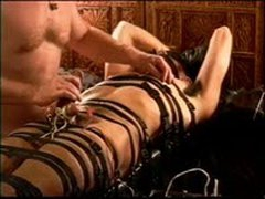CBT Electro Session Young Dude Restrained In Leather And Juiced Until He Cums.