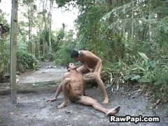 Uncut Latin Men Enjoys Bareback Ride In The Forest